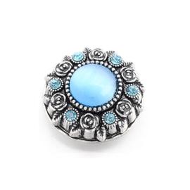 Magneetbroche blauw met oudzilverkleur