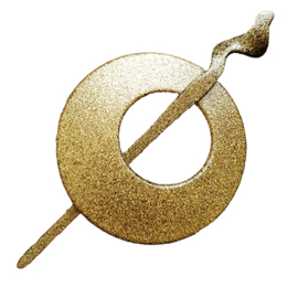 Vestspeld rond met goudkleurige glitter  - D14148