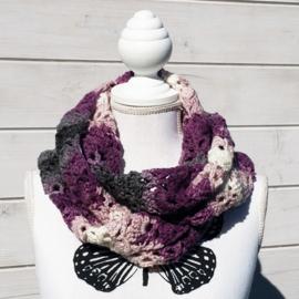 Colsjaal aubergine roze grijs wit