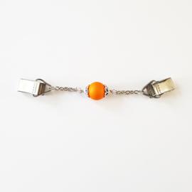 Vestsluiting met oranje kraal - TSH00267
