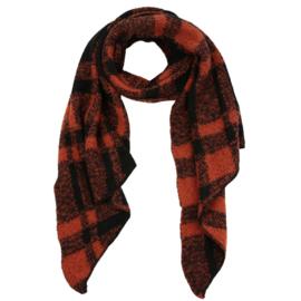 Sjaal geblokt zwart met roestbruin