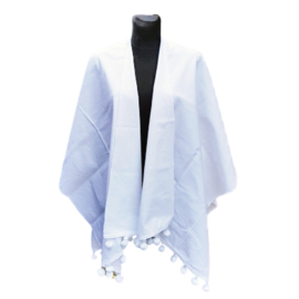 Witte open poncho