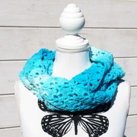 Colsjaal aquablauw met wit