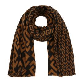 Sjaal met motief bruin