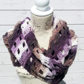 Window Pane sjaal paars bruin wit
