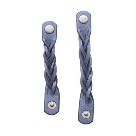 Sjaalriempjes gevlochten blauw - set van 2