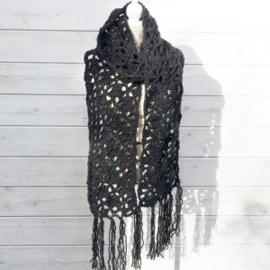 Sjaal antraciet tweed