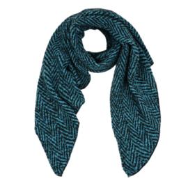 Sjaal met visgraatmotief - zwart-blauw