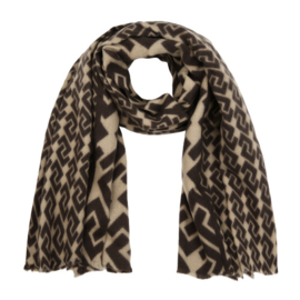 Sjaal met motief khaki
