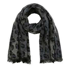 Sjaal met luipaardprint - grijs
