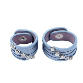 Sjaalriempjes blauw met steentjes - set van 2
