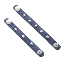 Sjaalriempjes blauw met sterretjes - smal - set van 2