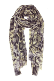 Sjaal snake geel-grijstinten
