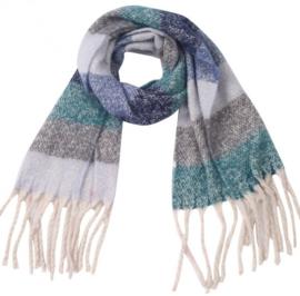 Sjaal multicolor gestreept grijs groen blauw