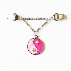 Vestsluiting yin yang roze - TSH00040