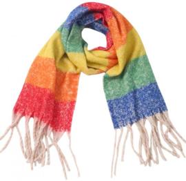 Sjaal multicolor gestreept regenboog