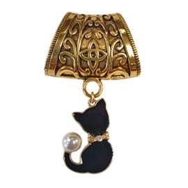 Sjaalklem oudgoudkleur met zwarte kat en pareltje