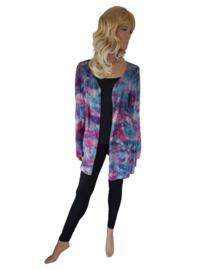 Handgeverfd vest blauw roze paars - maat 40-42