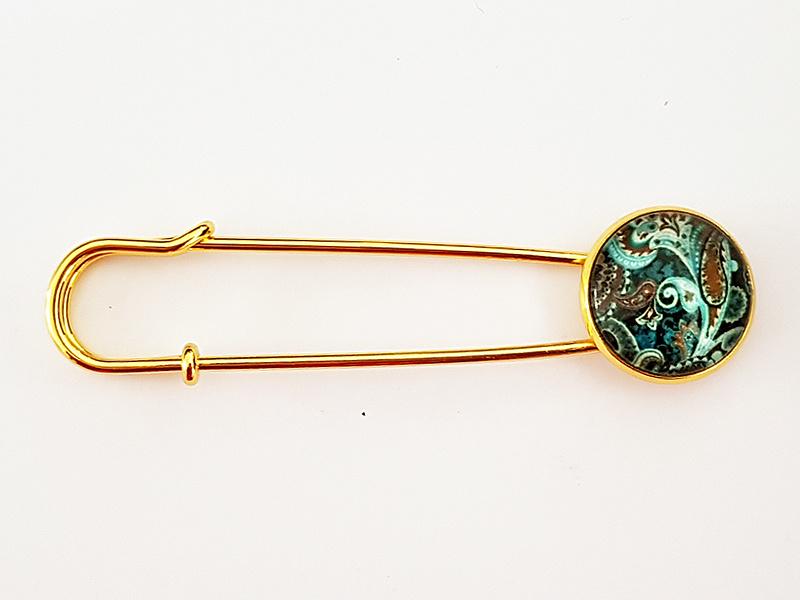 Vestspeld barok turquoise bruin - TSH00254