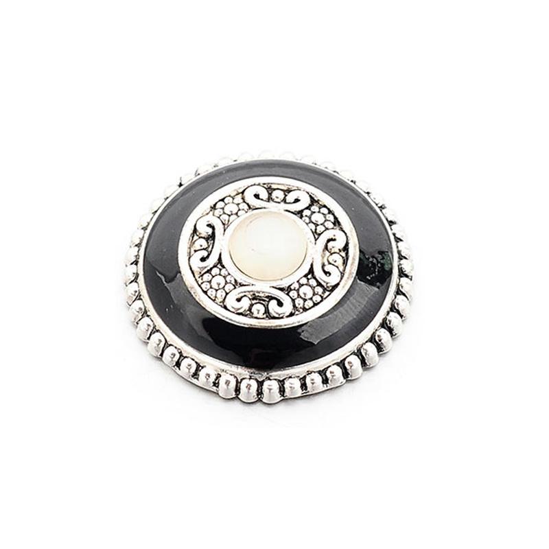 Magneetbroche zwart met oudzilverkleur