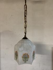Franse hanglampje met glazen kap