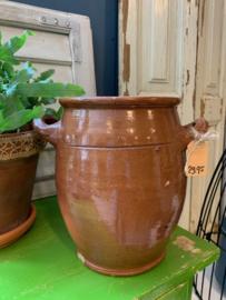 Bruine aardewerk pot 24 cm hoog