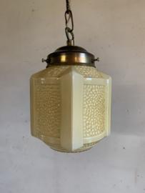 Hanglamp lichtgeel glas - Art Deco