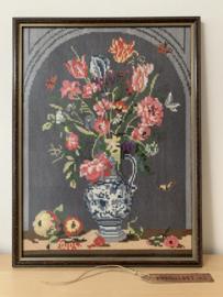Borduurwerk bloemen - ingelijst