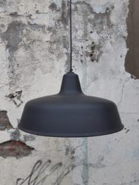 Industriële emaille hanglamp (zwart)