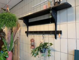 Frans rek | regaal | wandrek - zwart 150cm