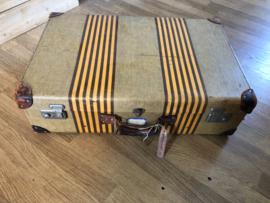 Koffer, bruin|geel gestreept