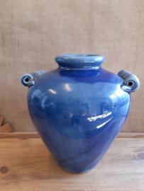 Bolle vaas van Blauw aardewerk