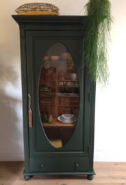 Vitrinekast 1-deurs - donkergroen