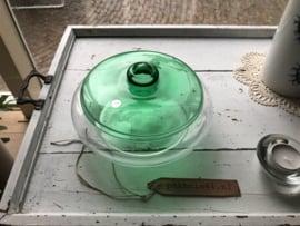 Glazen koekschaal groen deksel (Leerdam Glas)