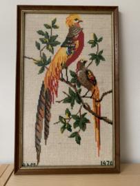 Borduurwerk Paradijsvogels - ingelijst