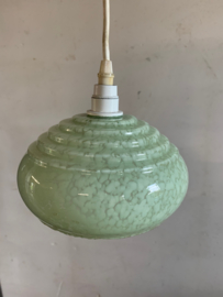 Hanglampje lichtgroen gewolkte glazen kap