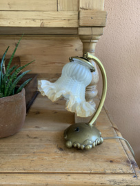 Tafel- Bureaulamp koper met glazenkapje