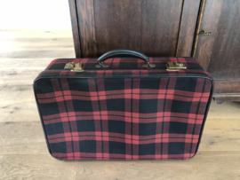 Koffertje, geruit zwart|rood