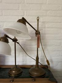 Bureaulamp messing | glas - 50 cm