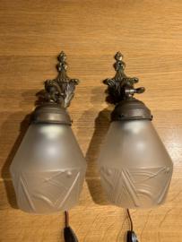 Set Franse wandlampen - brocante