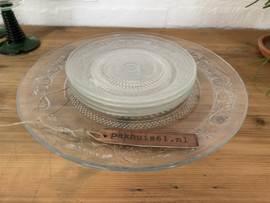 Glazen gebakstel 5-delig