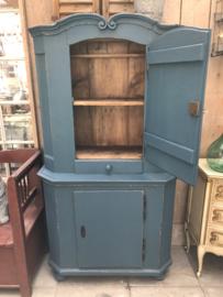 Vintage houten keukenkast blauw