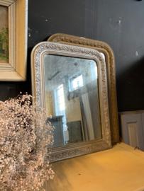 Spiegel met zilveren lijst 66 cm hoog