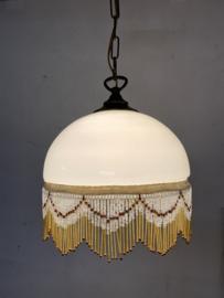 Hanglamp glas - met kralenfranje