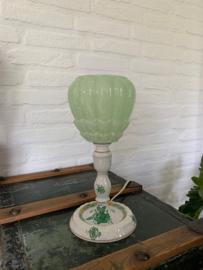 Tafellampje lichtgroen gewolkte glazen kap