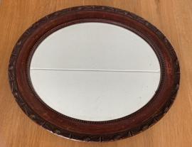 Ovale Spiegel met houten lijst 62 cm