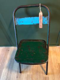 Metalen klapstoel blauw | groen