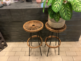 Bamboe | metaal kruk - retro