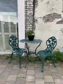 Tuinset groen - tafel met 2 stoelen