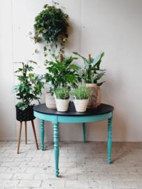 Ronde Franse tafel - zwart | turquoise